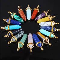 Gemstone Vedhæng Smykker, Ædelsten, med Messing, pendulet, guldfarve belagt, forskellige materialer til valg, nikkel, bly & cadmium fri, 36-40x8mm, Hole:Ca. 3x4mm, Solgt af PC