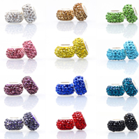Rhinestone European Beads, Clay Pave, Rondelle, silver color plated, brass single core without troll & with rhinestone, more colors for choice, nickel, lead & cadmium free, 12mm, Hole:Approx 5mm, 100PCs/Lot, Sold By Lot