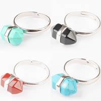 Кольца с камнями, цинковый сплав, с Полудрагоценный камень, Маятник, Платиновое покрытие платиновым цвет, природный & различные материалы для выбора, не содержит никель, свинец, 15x10mm, размер:8, продается PC