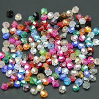 Symetryczne kryształowe koraliki, Kryształ, Podwójny stożek, Platerowane kolorem AB, przezroczysty & fasetowany, Więcej kolorów do wyboru, 4mm, otwór:około 1mm, 100komputery/torba, sprzedane przez torba