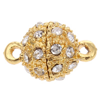 Zinc Alloy Magnetic Clasp, Round, gold color plated, with rhinestone & single-strand, nickel, lead & cadmium free, 10x16mm, Hole:Approx 1mm, 10PCs/Bag, Sold By Bag