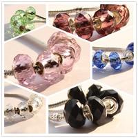 European kristalli helmiä, Rondelli, messinki Kaksoisjohdin ilman peikko & kasvot, enemmän värejä valinta, 15mm, 20PC/laukku, Myymät laukku