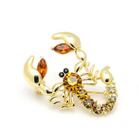 Crystal Brooch, Zinc Alloy, with Crystal, Scorpion, gold color plated, faceted & with rhinestone, nickel, lead & cadmium free, 26x40mm, Sold By PC
