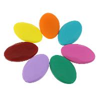 Силиконовые шарики, Силикон, Плоская овальная форма, Одобрение FDA, Много цветов для выбора, 40x25x9mm, отверстие:Приблизительно 2mm, 50ПК/сумка, продается сумка