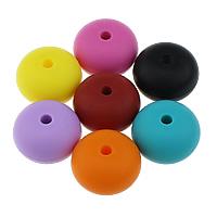 Силикон бусина с широким отверстием, Круглая форма, Одобрение FDA, Много цветов для выбора, 15x23mm, отверстие:Приблизительно 4mm, 50ПК/сумка, продается сумка