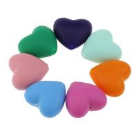 Силиконовые шарики, Силикон, Сердце, Одобрение FDA, Много цветов для выбора, 20x19x12mm, отверстие:Приблизительно 2mm, 100ПК/сумка, продается сумка