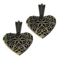 Brass Locket Pendants Heart antique bronze color plated hollow nickel lead   cadmium free 26x26x7mm Hole:Approx 4x7mm Inner Diameter:Approx 19mm 10PCs/Lot