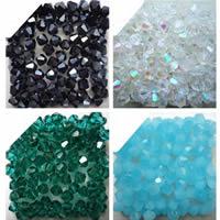 Bicone Crystal Beads, Kristal, AB plated, gefacetteerde, meer kleuren voor de keuze, 4mm, Gat:Ca 1mm, Ca 100pC's/Bag, Verkocht door Bag