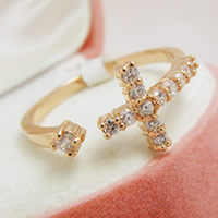 Zinc Alloy Cuff Finger Ring Cross gold color plated with rhinestone nickel lead   cadmium free 21x22mm US Ring Size:5