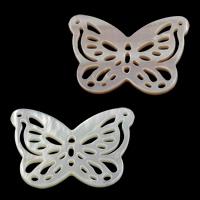 Ракушка коннектор, бабочка, натуральный, различные материалы для выбора & 1/1 петля & отверстие, 27.50x17.50x2mm, отверстие:Приблизительно 1mm, 10ПК/Лот, продается Лот
