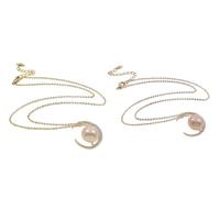 Srebrny naszyjnik z perłami, Perła naturalna słodkowodna, ze Srebro łańcucha & Mosiądz, ze 6cm przedłużeniami łańcuszka, Księżyc, Powlekane, naturalny & owalne łańcucha & mikro utorować cyrkonia, dostępnych więcej kolorów, 12-13mm, 20x22x12mm, sprzedawane na około 15.5 cal Strand