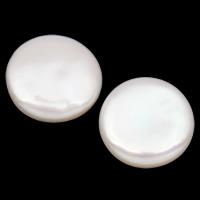Koraliki z pereł hodowlanych słodkowodnych bez otworu, Perła naturalna słodkowodna, Moneta, Naturalne, biały, 15-17mm, 10par/torba, sprzedane przez torba
