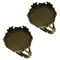 Brass Bezel Ring Base, antique bronze color plated, adjustable, nickel, lead & cadmium free, 17x17x6mm, Inner Diameter:Approx 15mm, US Ring Size:7, 100PCs/Lot, Sold By Lot