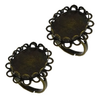 Brass Bezel Ring Base, Flower, antique bronze color plated, adjustable, nickel, lead & cadmium free, 19x24x4mm, Inner Diameter:Approx 14x18mm, US Ring Size:7, 50PCs/Lot, Sold By Lot