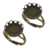 Brass Bezel Ring Base, antique bronze color plated, adjustable, nickel, lead & cadmium free, 13x5mm, Inner Diameter:Approx 12.5mm, US Ring Size:7, 200PCs/Lot, Sold By Lot