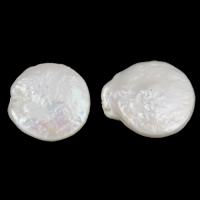 Natural Freshwater Pearl Loose Beads, Coin, white, 14mm, Hole:Approx 0.8mm, 5PCs/Bag, Sold By Bag
