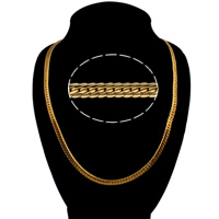 Men Necklace, Brass, 18K gold plated, serpentine chain, nickel, lead & cadmium free, 6X2mm, Sold Per Approx 24 Inch Strand
