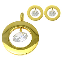 Fashion Stainless Steel Jewelry Sets, pendant & earring, with Cubic Zirconia, Donut, gold color plated, 20x26x1.8mm, 14x14x1.8mm, Hole:Approx 4mm, 5Sets/Lot, Sold By Lot