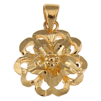 Brass Jewelry Pendants, Flower, 18K gold plated, flower cut, nickel, lead & cadmium free, 16x18x6mm, Hole:Approx 3x4mm, Sold By PC