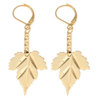 Brass Leverback Earring, Leaf, 18K gold plated, flower cut & stardust, nickel, lead & cadmium free, 18.50x51x3mm, Sold By Pair