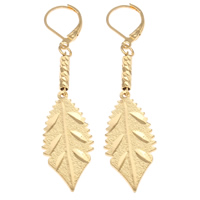 Brass Leverback Earring, Leaf, 18K gold plated, flower cut & stardust, nickel, lead & cadmium free, 14x60x3mm, Sold By Pair