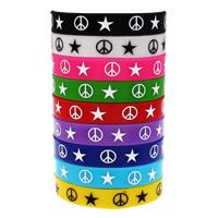 Силиконовые браслеты, Силикон, принт, с рисунками звезды, разноцветный, 12mm, длина:Приблизительно 6.5 дюймовый, 10пряди/сумка, продается сумка