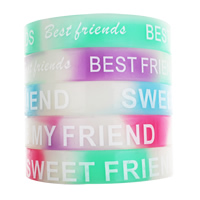 Silicone Bracelets, word best friend, printing, luminated, mixed colors, 12mm, Length:Approx 6.5 Inch, 10Strands/Bag, Sold By Bag