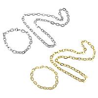 Ogranicz ze stali nierdzewnej Zestawy biżuterii, bransoletka & naszyjnik, Stal nierdzewna, Powlekane, prostokąt łańcucha, dostępnych więcej kolorów, 10x8x1.5mm, 9x6x1mm, 10x8x1.5mm, 9x6x1mm, długość:około 21 cal, około 8.5 cal, sprzedane przez wiele