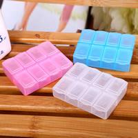 Pudełko na tabletki, Plastik, Prostokąt, przezroczysty & 8 komórek, dostępnych więcej kolorów, 73x60x15mm, sprzedane przez PC