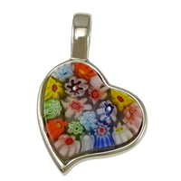 Millefiori Glass Pendant Jewelry, 316L Stainless Steel, with Murano Millefiori Lampwork, Heart, original color, 23x35x8mm, Hole:Approx 6x8mm, 5PCs/Lot, Sold By Lot