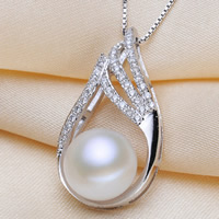 Freshwater Pearl Pendants, with Brass, Button, natural, micro pave cubic zirconia, white, 9-10mm, Hole:Approx 3-11mm, Sold By PC