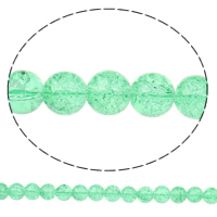 Crackle Glass Beads, Round, green, 12mm, Hole:Approx 2mm, Length:Approx 32.2 Inch, 10Strands/Bag, Sold By Bag