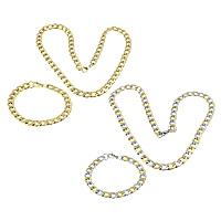 Ogranicz ze stali nierdzewnej Zestawy biżuterii, bransoletka & naszyjnik, Stal nierdzewna, Powlekane, łańcucha krawężnika, dostępnych więcej kolorów, 13x9x2.5mm, 13x9x2.5mm, długość:około 21 cal, około 8.5 cal, 10zestawy/wiele, sprzedane przez wiele