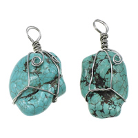 Turquoise Pendant, Natural Turquoise, Nuggets, platinum color plated, blue, 21-25x46-49x15-19mm, Hole:Approx 6-7mm, 20PCs/Lot, Sold By Lot