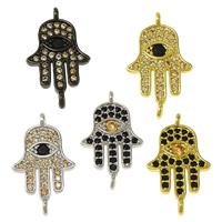 Cubic Zirconia Micro Pave Brass Connector Hamsa plated Islamic jewelry   micro pave cubic zirconia   1/1 loop nickel lead   cadmium free 11x19x1.50mm Hole:Approx 1mm 10PCs/Lot