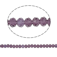 Rondelle Crystal Beads, imitation CRYSTALLIZED™ element crystal, Violet, 6x8mm, Hole:Approx 1.5mm, Length:Approx 17 Inch, 10Strands/Bag, Sold By Bag
