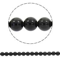 Musta Obsidian Helmet, Pyöreä, synteettinen, erikokoisia valinnalle, Reikä:N. 1mm, Myyty Per N. 15 tuuma Strand