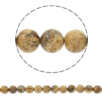 Natural Picture Jasper Beads, Round, different size for choice, Hole:Approx 1mm, Sold Per Approx 15 Inch Strand