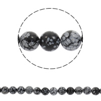 Snowflake Obsidian Beads Round Hole:Approx 1mm Sold Per Approx 15 Inch Strand