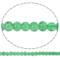 Crackle Glass Beads, Round, light green, 6mm, Hole:Approx 1.5mm, Length:Approx 31.5 Inch, 10Strands/Bag, Sold By Bag