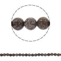 Natural Snowflake Obsidian Beads, Round, different size for choice, coffee color, Hole:Approx 1mm, Sold Per Approx 15.5 Inch Strand