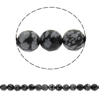 Natural Snowflake Obsidian Beads, Round, different size for choice & faceted, Hole:Approx 1mm, Sold Per Approx 14.5 Inch Strand
