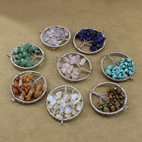Gemstone Pendants Jewelry Brass with Gemstone Tree platinum color plated natural   different materials for choice nickel lead   cadmium free 46-51x53-56x5-8mm Hole:Approx 3mm