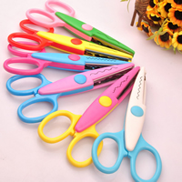 Scissors, Plastic, with Stainless Steel, mixed colors, 130mm, 10PCs/Lot, Sold By Lot