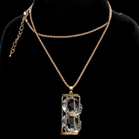 Zinc Alloy Sweater Chain Necklace, with iron chain & Acrylic, with 5cm extender chain, gold color plated, lantern chain & faceted, nickel, lead & cadmium free, 24x51mm, Sold Per Approx 28 Inch Strand