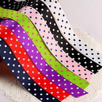 Grosgrain Ribbon with round spot pattern mixed colors 22mm 100Strands/Bag 1m/Strand