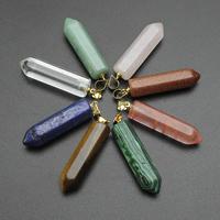 Gioielli ciondoli con gemme, pietra preziosa, with ottone cauzione, pendolo, placcato color oro, materiali diversi per la scelta, 8x33mm-8x29mm, Foro:Appross. 3mm, Venduto da PC