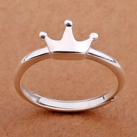 925 Sterling Silver Open Finger Ring Crown platinum plated adjustable 7x10mm US Ring Size:5