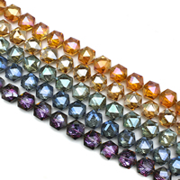 Hexagon kristalli helmiä, Kuusikulmio, värikäs päällystetty, kasvot, enemmän värejä valinta, 16x16x8mm, Reikä:N. 1mm, N. 40PC/Strand, Myyty Per N. 24 tuuma Strand