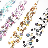 Стеклянный Ожерелье, с железный цепи & Акрил, с 5cm наполнитель цепи, 3-нить, разноцветный, 6-12mm, длина:Приблизительно 16.5 дюймовый, 3пряди/сумка, продается сумка